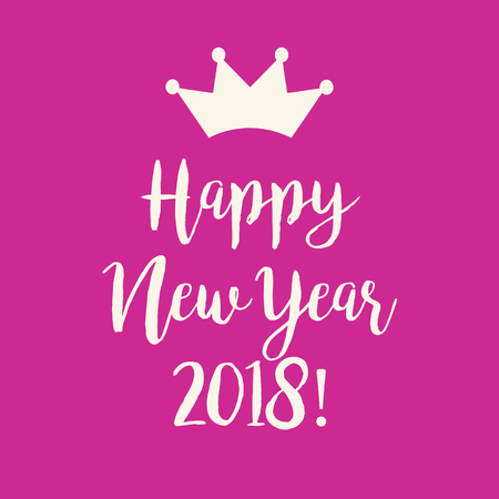 Cute simple pink Happy New Year 2018 greeting card with a crown. Çizim