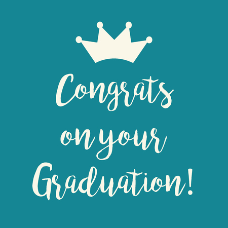 Cute teal blue Congrats on your Graduation greeting card with a crown.