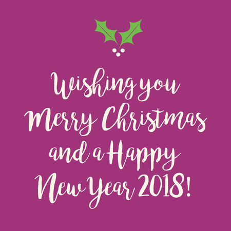 Purple pink Merry Christmas and Happy New Year greeting card with a snowflake.