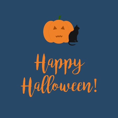 Cute Happy Halloween card with a scary carved pumpkin and black cat on dark blue background.
