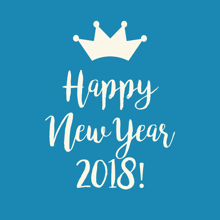 Cute simple blue Happy New Year 2018 greeting card with a crown.