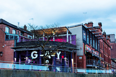 MANCHESTER, UNITED KINGDOM - 5 March, 2016: Evening view of the G-A-Y night club on Canal Street in the Gay Village part of Manchester.