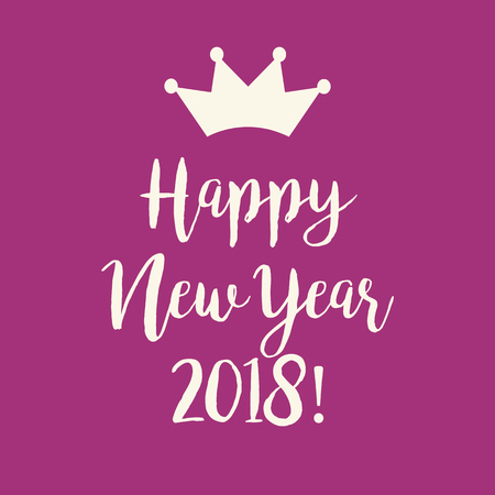 Cute simple purple pink Happy New Year 2018 greeting card with a crown.