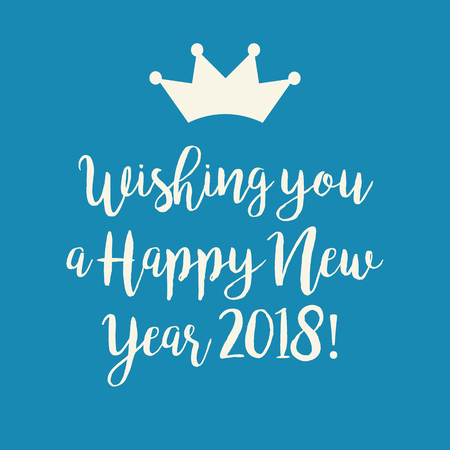 Simple blue Wishing you a Happy New Year 2018 card with a crown.
