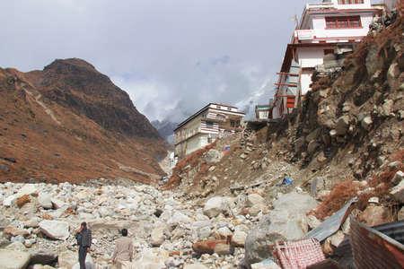 Uttarkashi,Uttarakhand/India- June 17 2013: Collapsed houses during Kedarnath Disaster 2013 in Uttarakhand, India. Results in heavy loss to lives & property.