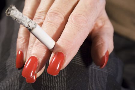 Red Fingernails and Cigarette (Front View) photo