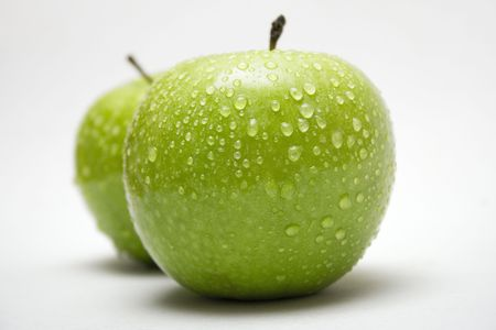 Two Green Apples w/ Raindrops (Side View) Stock Photo - 431450