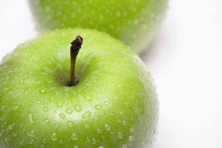 Two Green Apples w/ Raindrops (Close View) Stock Photo - 431436