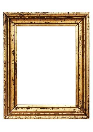 Weathered Golden Picture Frame w Path Stock Photo
