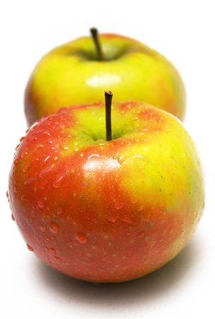 Two Colorful Apples w/ Waterdrops Stock Photo - 431410