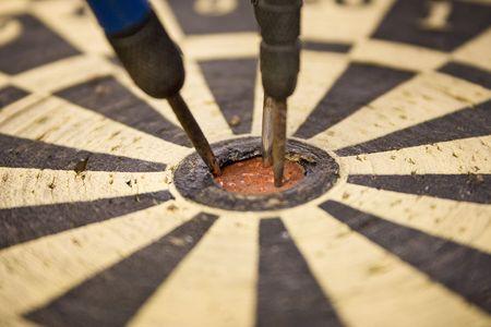 pointedly: Dartboard � Close Up On Bulls Eye Stock Photo