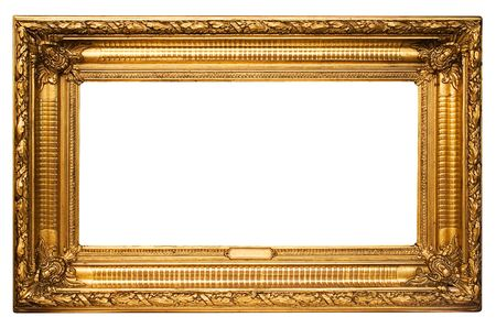 undefined: Wide Golden Picture Frame w Path Stock Photo