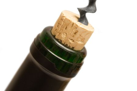 Uncorking a Wine Bottle (Close View) photo