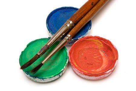 rgb: RGB watercolors w Paintbrushes Stock Photo