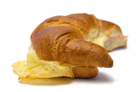 Croissant w Ham and Cheese (Side View) photo