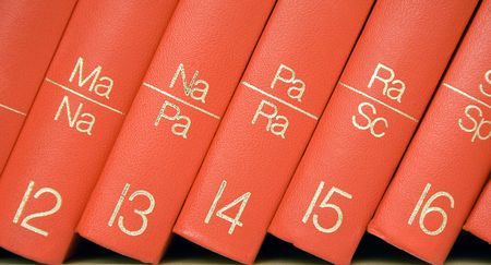 Encyclopedia in a Bookshelf (Close View) photo