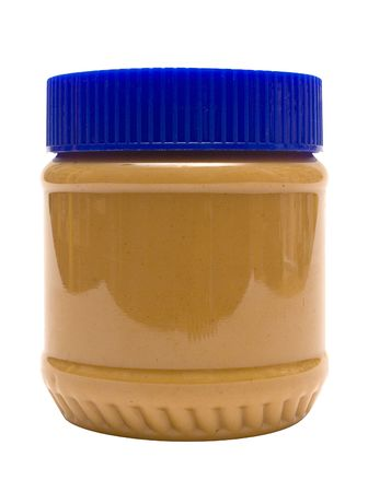 Closed Glass of Peanut Butter w Path (Side View) Stock Photo