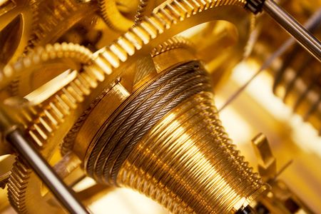 Golden Clockwork Stock Photo
