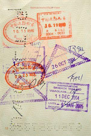 Stamped Passport Stock Photo