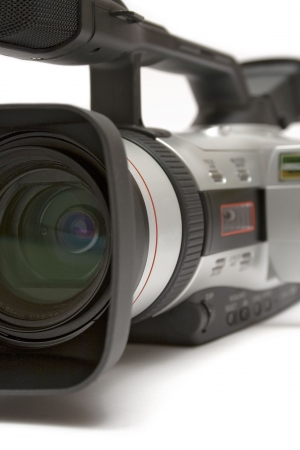 customer records: Digital Video Camera (Detail Front-Side View) Stock Photo