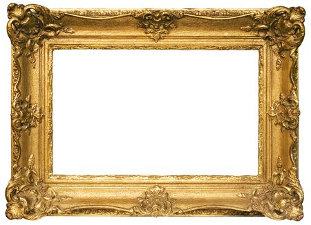 undefined: Gold Plated Wooden Picture Frame w Path (Wide) Stock Photo