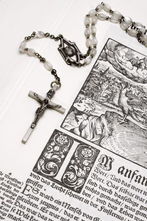 Rosary and Bible (Close View) Stock Photo