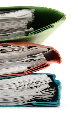 Stack of Colorful Binders (Close) Stock Photo
