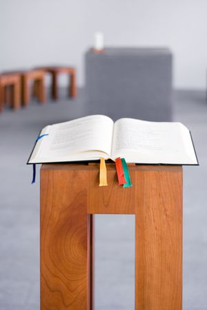 Open Bible on Wooden Console Stock Photo - 447613