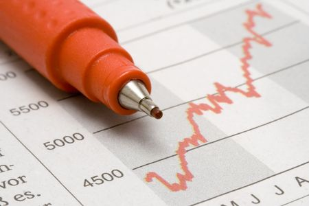 Stock Chart w/ Red Pencil Stock Photo - 447602