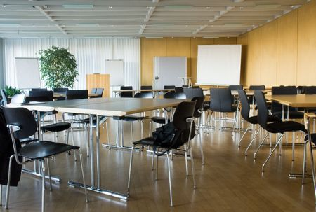 place to learn: Empty Conference Room Stock Photo