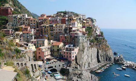 Small colorful village on the Cinque Terre coastline in Italy. Stock Photo