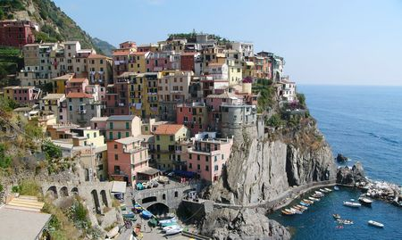 terracing: Small colorful village on the Cinque Terre coastline in Italy. Stock Photo