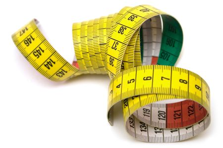 Winding tape measure against white. Stock Photo - 1357289