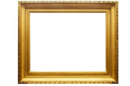 Rectangular Golden Picture Frame w/ Path Stock Photo - 1357288