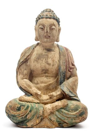 Antique Wooden Buddha. Manufactured at the Beginning of the 20th Century. photo