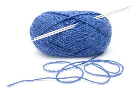weave ball: Knitting equipment isolated on white.