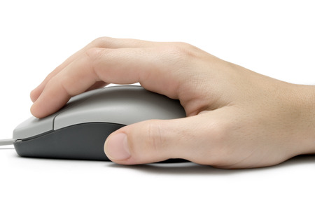 Female hand using a grey computer mouse. Isolated on white background. Stock Photo - 1432204