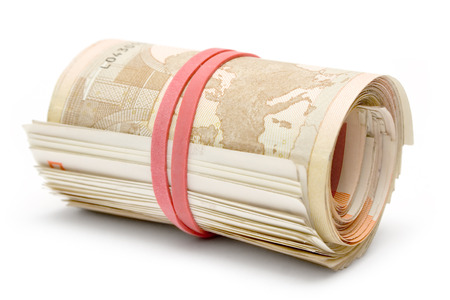 Bunch of 50 Euro bills isolated on a white background.