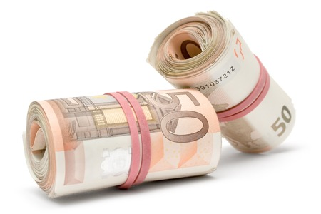 50 euro: Two rolls of 50 Euro bills isolated on a white background.