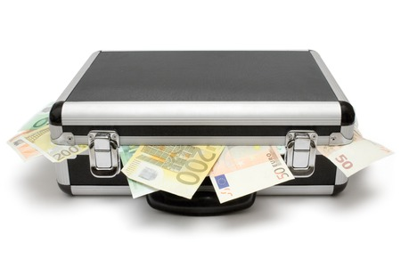 thievery: Suitcase full of Euro bills. Isolated on a white background. Stock Photo