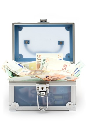 Blue money case filled with various Euro bills. Isolated on a white background. photo