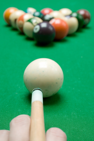 Ready to play pool billiard. photo