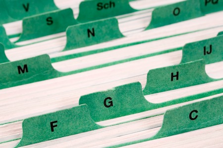 Files with letter tabs for keeping addresses.