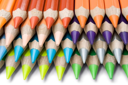 Stack of colorful pencils isolated on a white background. photo