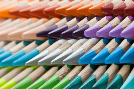 Abstract shot of stacked colored pencils. Shallow depth of field. Stock Photo - 1449665