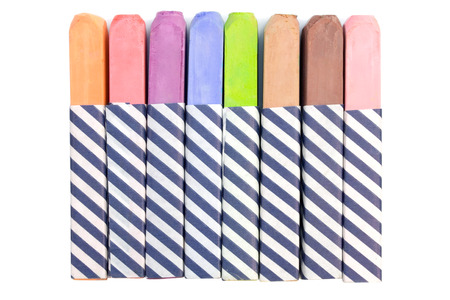illustrates: Colorful chalk isolated on a white background. Stock Photo