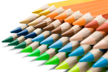 out of use: Stack of colorful pencils isolated on a white background.
