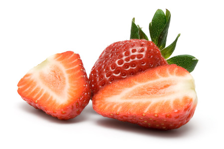 foodstill: Sliced strawberry arranged on a white background.