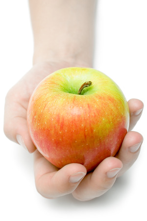 Female hand offering a colorful apple. Isolated on a white background. photo