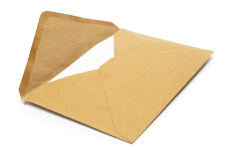 casing paper: Old open envelope isolated on a white background.